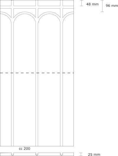 XPS 350 Fußbodenplatte 25 mm (für 20 mm Rohr) Abmessungen
